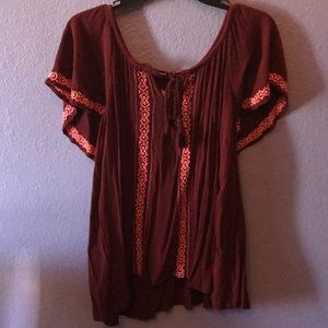 Tops - Maroon and coral blouse